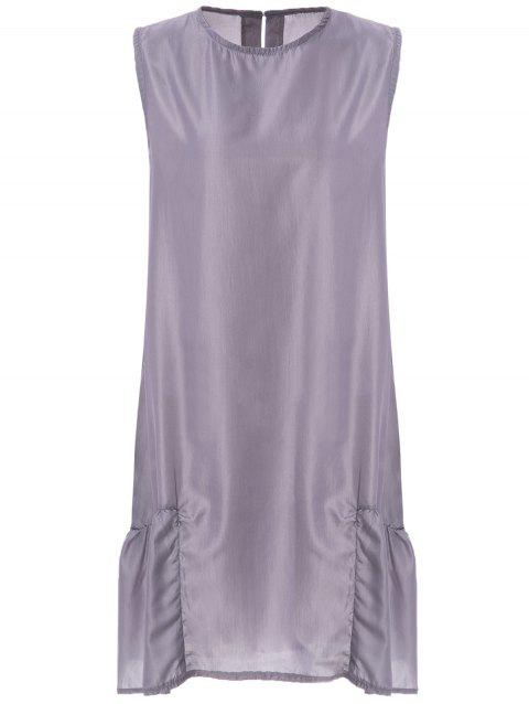 Stylish Scoop Neck Sleeveless Pocket Design Loose-Fitting Women's Dress - GRAY L