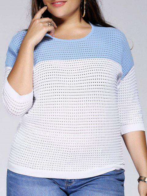 Chic Plus Size Hollow Out Hit Color Women's Knitwear - LIGHT BLUE ONE SIZE(FIT SIZE L TO 3XL)