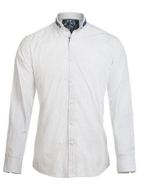 Petit Floral Print Turn-Down Collar manches longues en coton Blends Men  's Shirt - multicolore S