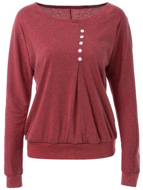 Casual Style Scoop Neck Long Batwing Sleeve Loose-Fitting Solid Color Women's T-Shirt - RED M