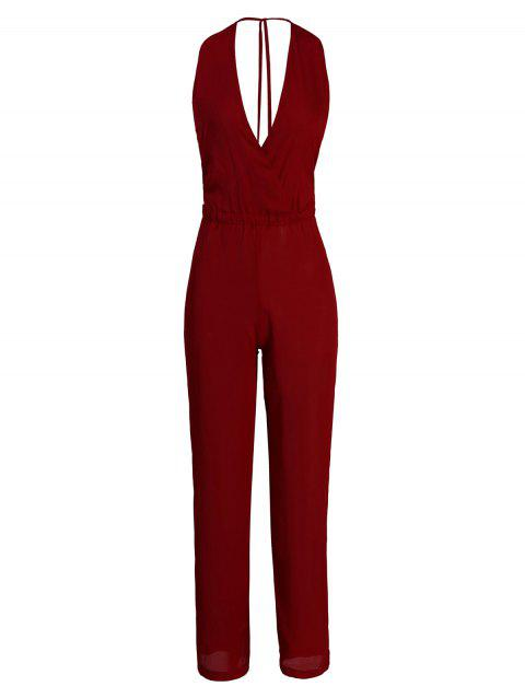 Trendy V-Neck Sleeveless Solid Color Chiffon Jumpsuit For Women - WINE RED M