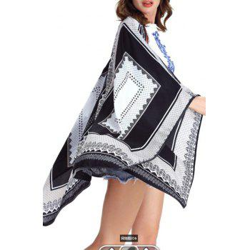 Collarless Loose-Fitting Print Women's Cape - WHITE 2XL