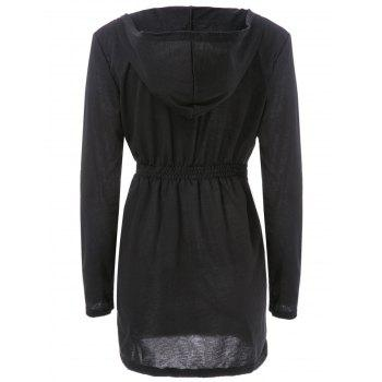 Stylish Hooded Long Sleeve Solid Color Bodycon Zippered Women's Coat - BLACK M