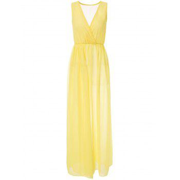 Sexy Plunging Neck Sleeveless Solid Color Chiffon High-Furcal Women's Dress