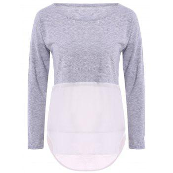 Stylish Long Sleeve Jewel Neck Color Block Chiffon Spliced Women's T-Shirt