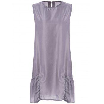 Stylish Scoop Neck Sleeveless Pocket Design Loose-Fitting Women's Dress