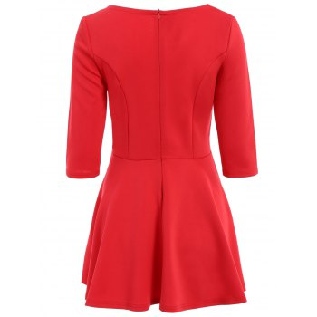 Stylish Scoop Neck 3/4 Sleeve Solid Color A Line Women's Dress - L L