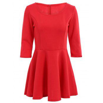 Stylish Scoop Neck 3/4 Sleeve Solid Color A Line Women's Dress - RED XL