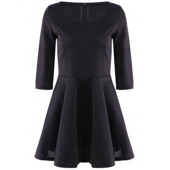 Stylish Scoop Neck 3/4 Sleeve Solid Color A Line Women's Dress - BLACK L
