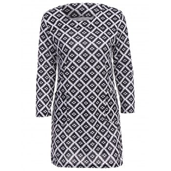 Stylish Scoop Collar 3/4 Sleeve Plaid Slimming Women's Dress
