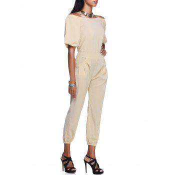 Casual Cold Shoulder Pure Color Women's Jumpsuit