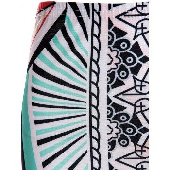 Sexy Sleeveless Round Collar Printed Crop Top + High-Waisted Skirt Women's Twinset - COLORMIX S