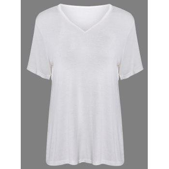 Simple Short Sleeves V Neck Pure Color T-Shirt For Women