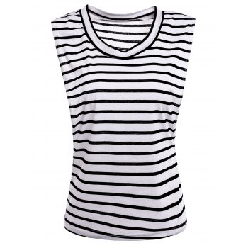 Sexy Sleeveless Scoop Collar Striped Women's T-Shirt