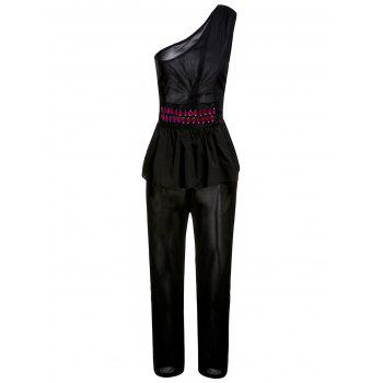 Stylish One-Shoulder Sleeveless Studded Flounced Women's Jumpsuit