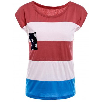 Stylish Round Neck American Flag Print Color Block Women's Short Sleeve T-Shirt