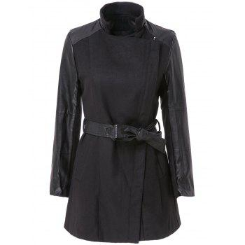 Stylish Stand-Up Collar Long Sleeve Spliced Zippered Women's Coat