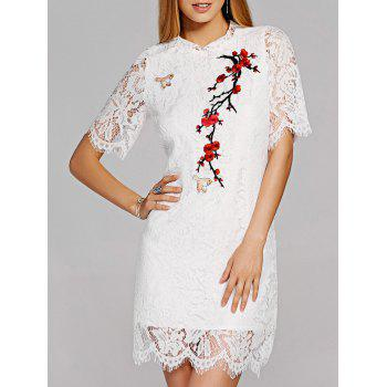 Scalloped Floral Embroidered Lace Crochet Dress