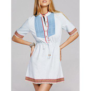 Preppy Crochet Trim Front Button Drawstring Denim Dress For Women