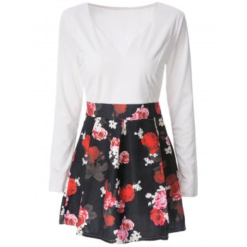 Sexy Long Sleeve Plunging Neck Floral Print Women's Dress - WHITE XS