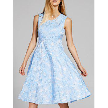 Chic V-Neck Sleeveless Floral Print Skater Dress For Women