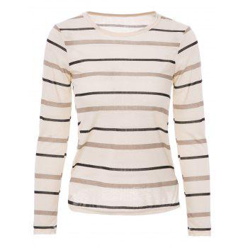 Fashionable Scoop Neck Striped Long Sleeve T-Shirt For Women