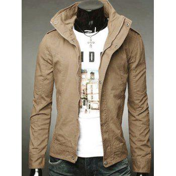 Slimming Solid Color Stand Collar Long Sleeve Men's Jacket