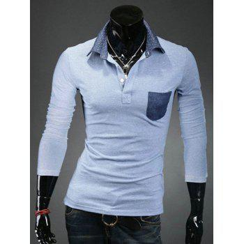 Polka Dot Spliced Turn-Down Collar Pocket Long Sleeve Men's Polo T-Shirt