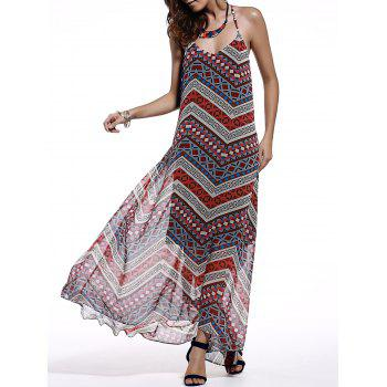 Chic Spaghetti Strap Sleeveless Open Back Printed Dress For Women