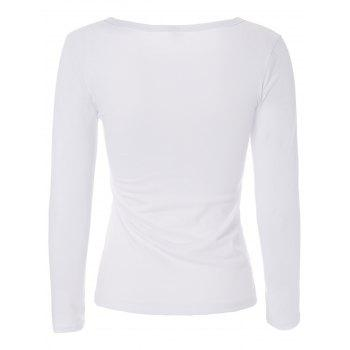 Stylish Jewel Neck Color Block T-shirt à manches longues pour femmes - Blanc S