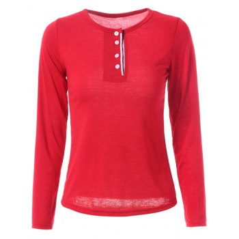 Stylish Jewel Neck Color Block Long Sleeve T-Shirt For Women