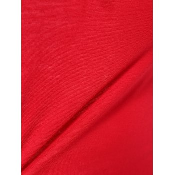 Stylish Jewel Neck Color Block Long Sleeve T-Shirt For Women - WINE RED 2XL