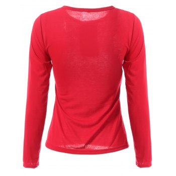 Stylish Jewel Neck Color Block T-shirt à manches longues pour femmes - Rouge vineux 2XL