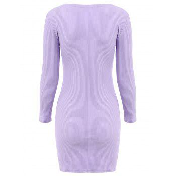 Alluring Women's V-Neck Candy Color Long Sleeve Dress - PURPLE PURPLE