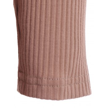 Alluring Women's V-Neck Candy Color Long Sleeve Dress - BROWN BROWN