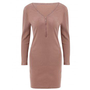 Alluring Women's V-Neck Candy Color Long Sleeve Dress