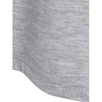 Batwing Sleeve Letter Print Top - GRAY 5XL