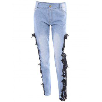 Sexy Mid Waist Lace Floral Spliced Hollow Out Women's Jeans