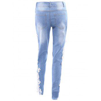 Sexy Mid Waist Lace Floral Spliced Hollow Out Women's Jeans - M M