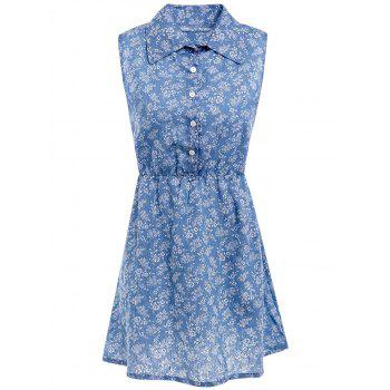 Stylish Women's Shirt Collar Sleeveless Printed Denim Shirt Dress - BLUE BLUE