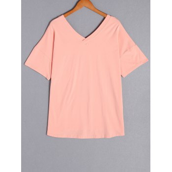 Casual Pure Color Plus Size Short Sleeve T-Shirt For Women - PINK PINK