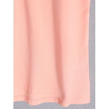 Casual Pure Color Plus Size Short Sleeve T-Shirt For Women - PINK 2XL