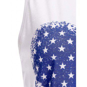Trendy Scoop Neck Sleeveless American Flag Print Loose Tank Top For Women - WHITE L