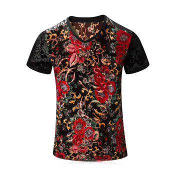 Buy PU Leather Spliced Floral Print Short Sleeves V-Neck Men's T-Shirt COLORMIX