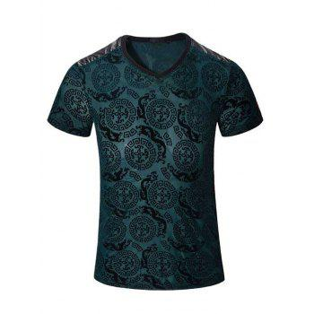 PU Leather Spliced Geometric Dragon Pattern Short Sleeves V-Neck Men's T-Shirt