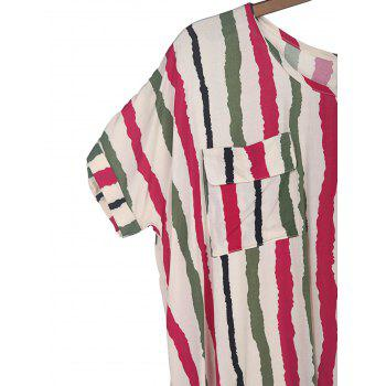 Colorful Vertical Stripe Sweet Scoop Neck Batwing Sleeve Women's T-Shirt - PLUM PLUM