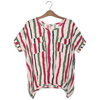 Colorful Vertical Stripe Sweet Scoop Neck Batwing Sleeve Women's T-Shirt