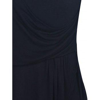 Trendy Solid Color Ruched Bud Hem Backless Sleeveless V-Neck Dress - BLACK L