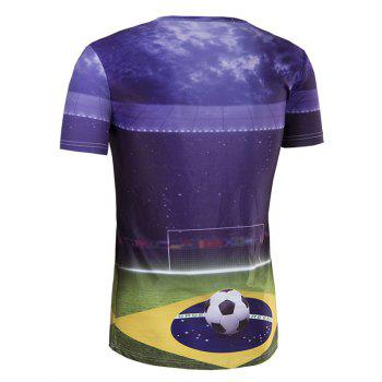 Men's Slim Fit Round Collar UEFA Champions League Printing T-Shirt - COLORMIX 2XL