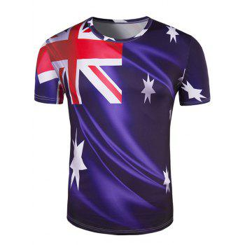 Men's Slim Fit Round Collar Australian Flag Printing T-Shirt